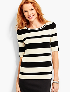 Bold Mixed-Stripe Sweater Topper