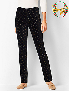 High-Rise Straight-Leg Velveteen Pants - Dot