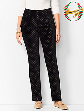 High-Rise Straight-Leg Velveteen Pants - Dot/Curvy