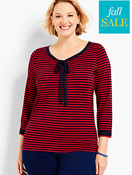 Three-Quarter-Sleeve Scoopneck-Acadia Stripe