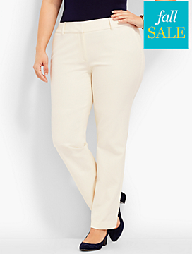 Polished Twill Straight-Leg Pant