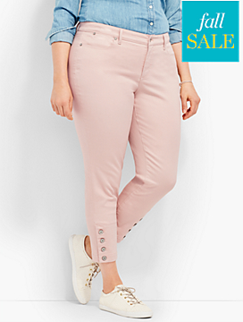 Four-Button Denim Slim Ankle-Light Rosewater
