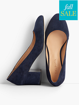 Isa Block-Heel Pumps - Suede