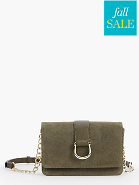 Horsebit Crossbody Bag-Suede & Pebbled Leather