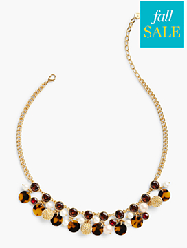 Tortoiseshell Bead & Pearl Necklace