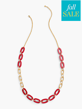 Colorblocked Rings & Chain-Link Necklace