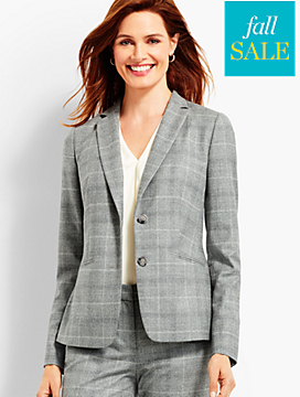 Luxe Glen Plaid Double-Button Blazer