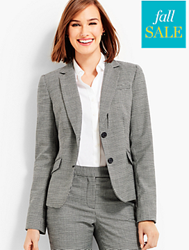 Houndstooth Double-Button Blazer