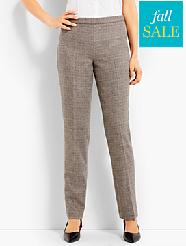 Luxe Tweed Side-Zip Slim-Leg Pant