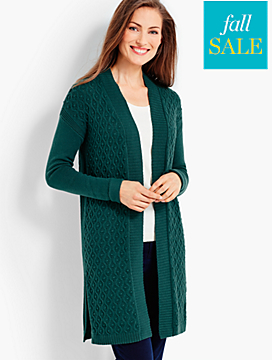 Long Mixed-Texture Cardigan