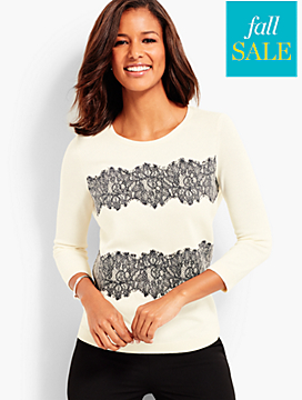 Lace-Trimmed Sweater