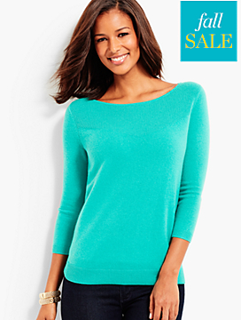 Cashmere Ribbed-Yoke Sweater