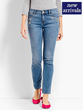 Limited-Edition Rhinestone-Embellished Denim Slim Ankle