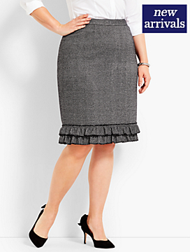 Metallic Tweed Ruffle-Hem Pencil Skirt