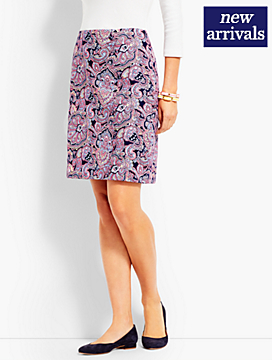 Resort Paisley Faux-Wrap Skirt