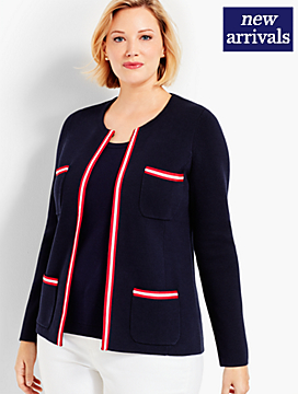 Womans Exclusive Stripe Sweater Jacket