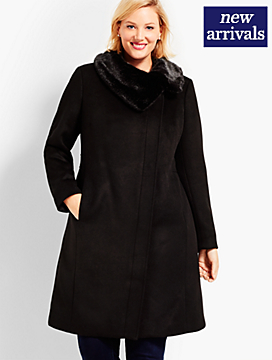Gramercy Faux Fur-Collar Wool Coat