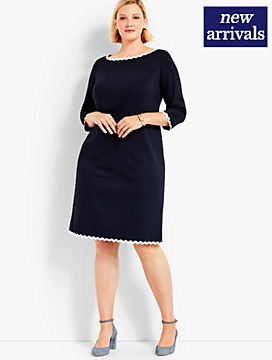 Refined Ponte RickRack Trimmed Sheath Dress