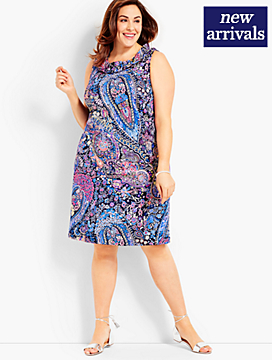 Pleat-Neck Shift-Paisley