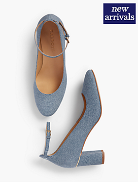 Ellery Ankle-Strap Pumps - Sueded Denim