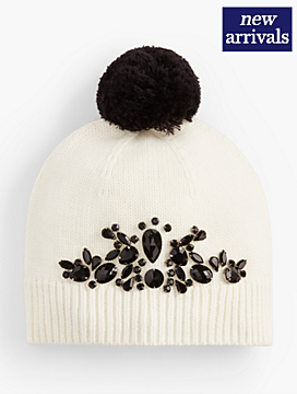 Jeweled Pom-Pom Hat