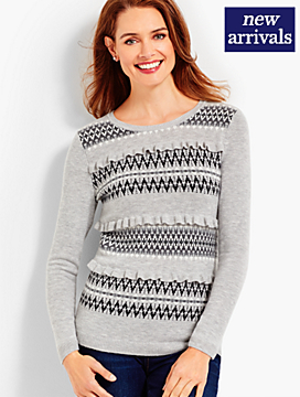 Ruffle-Front Fair Isle Sweater