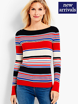 Stripe Bateau-Neck Sweater