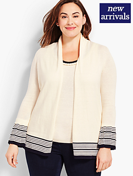 Open-Front Cardigan-Striped