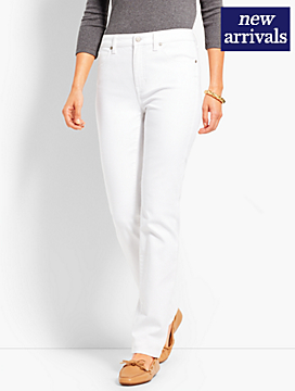 High-Rise Denim Straight-Leg - White
