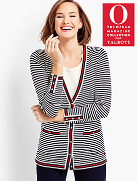 O, The Oprah Magazine Collection for Talbots Embroidered Stripe Cardigan