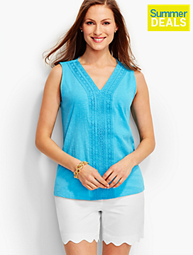 Lace-Trimmed V-Neck Tee