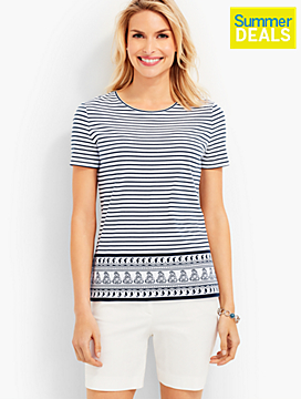 Striped Paisley-Border Tee