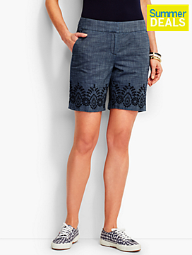 Embroidered Chambray Short