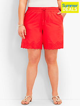 Embroidered-Eyelet Short