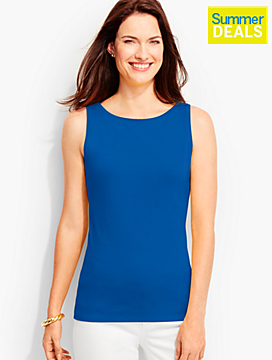 Pima Cotton Sleeveless Bateau Shell-The Talbots Tee
