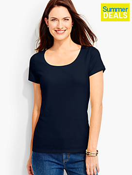 Pima Cotton Short-Sleeve Scoopneck-The Talbots Tee