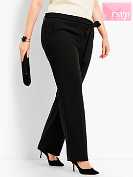 Wide-Leg Crepe Pant with Tie Belt