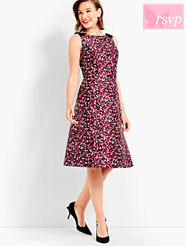 Bow Shoulder Confetti Print Dress