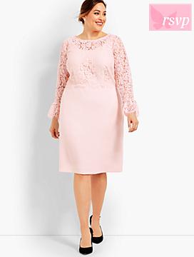 Lace Bodice Flounce Sleeve Dress
