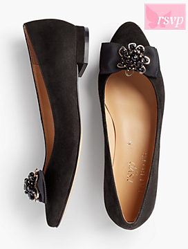 Edison Bow & Jewel Suede Flats