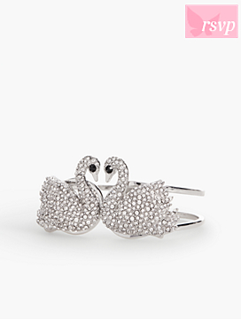 Shimmering Rhinestone Swan Bangle