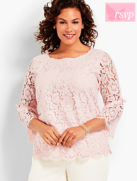 All-Over Lace Flounce Sleeve Topper