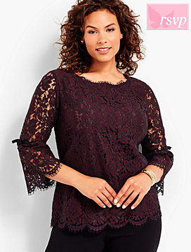 All-Over Lace Flounce Sleeve Topper-Wildberry