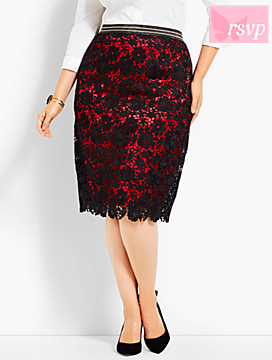 Flower Lace Pencil Skirt