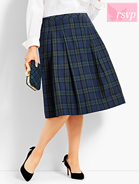 Pleated Tartan-Plaid Full Skirt