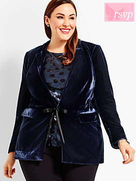 Tie-Front Velvet Smoking Jacket