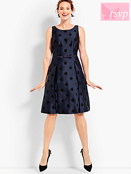 Jacquard Polka-Dot Fit & Flare Dress