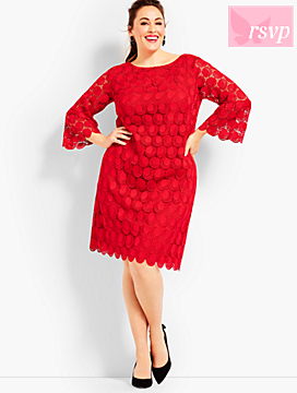 Flounce-Sleeve Dot Lace Dress