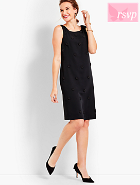 Embellished Crepe Shift Dress