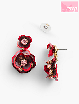 Sequined-Flower Earrings